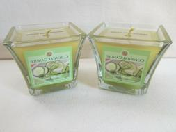 2 Colonial Candle  CUCUMBER FRESCA 4 oz Scented Flared Squar