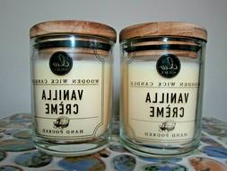2 DW Home VANILLA CREAM Wooden Wick Richly Scented Candles S