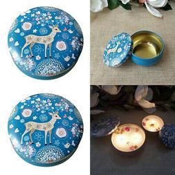 2Pc Scented Travel Tin Candle Jars Box Metal Candles Tin Sto