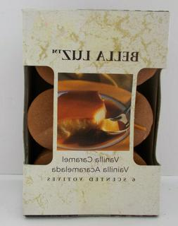 6 Pack Vanilla Caramel Scented Candles Bella Luz Candle-Lite