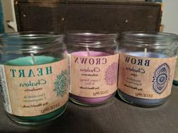 Chakra Candles 3rd eye Brow, Crown, Heart, scented soy blend