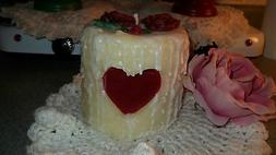 HIGHLY SCENTED 4X4 GRUBBY CAKE PILLAR CANDLE W/ HEART ~U PIC