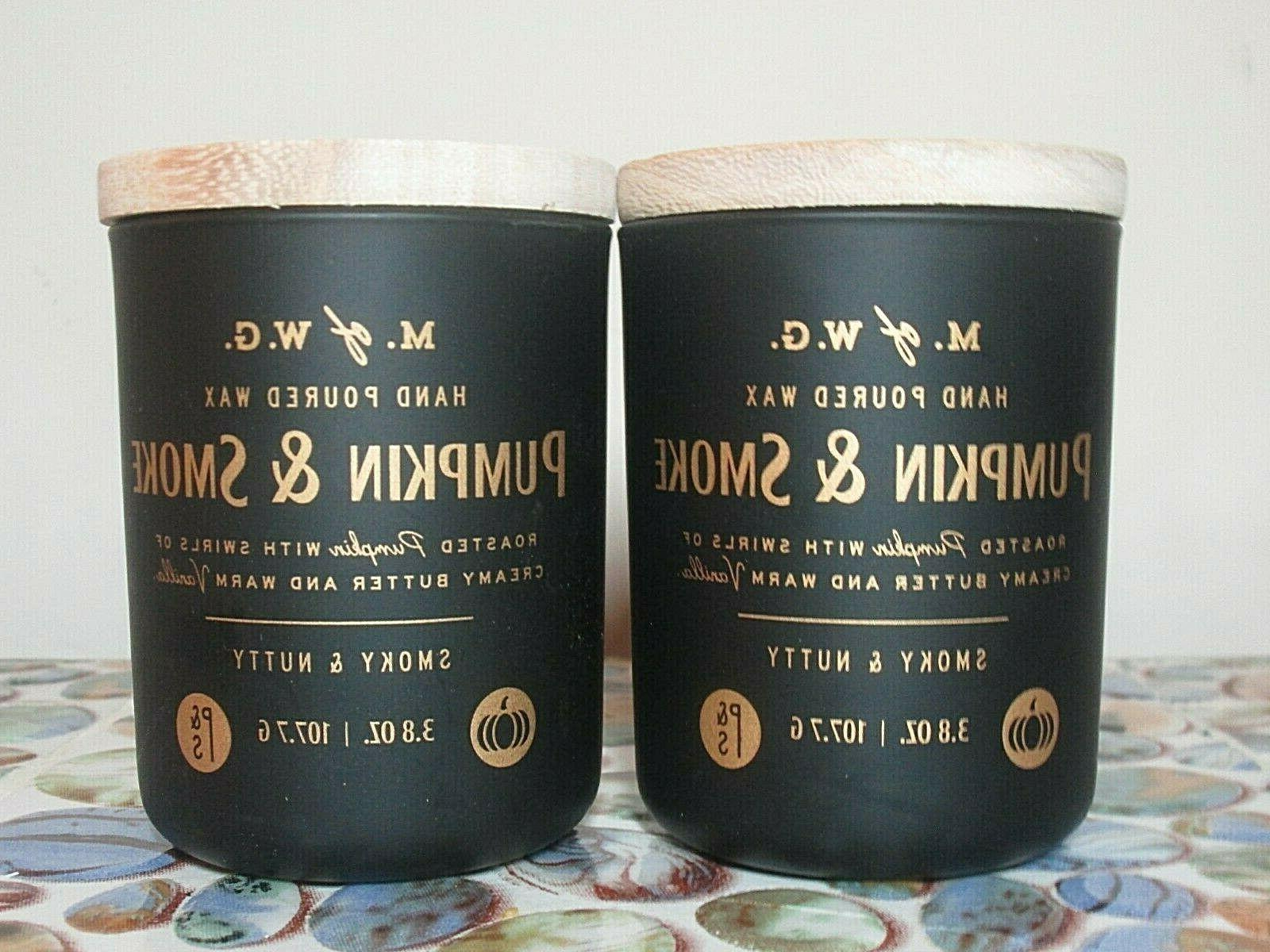 2 pumpkin and smoke scented candles small
