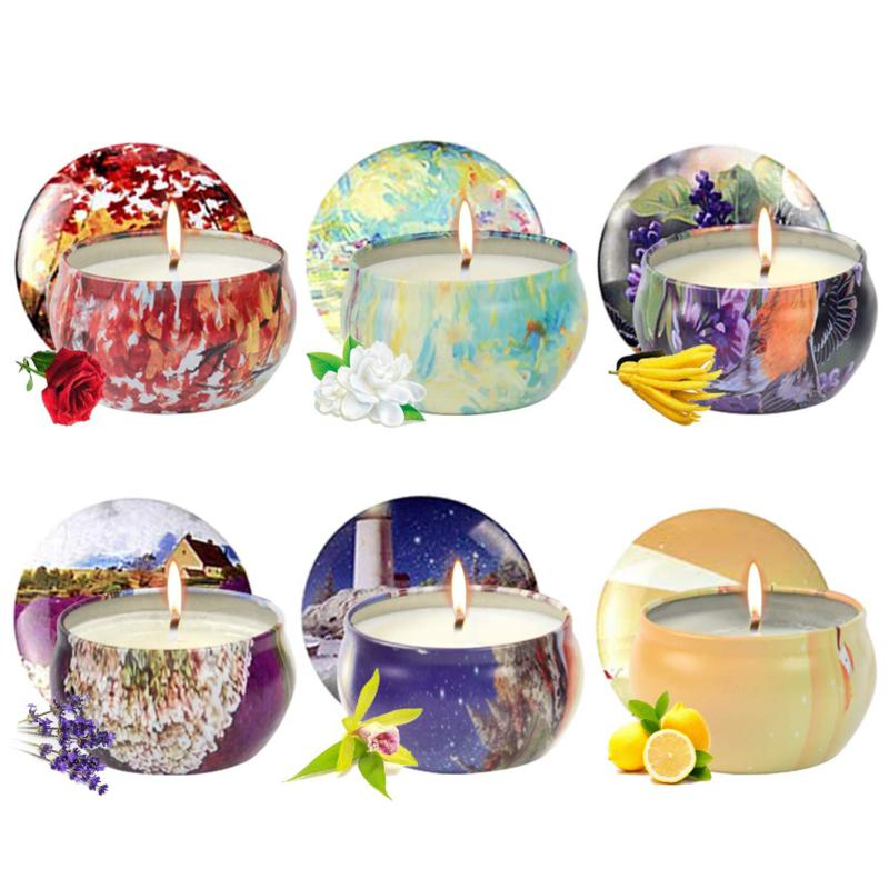 Scented Candles Gifts Sets 6 Pack 2.5 Oz Natural Soy Wax Can