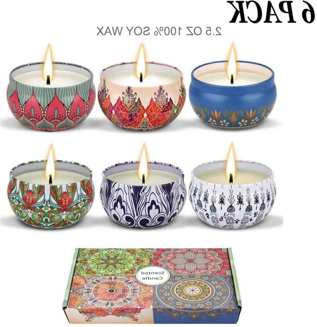 Scented Candles,Soy Wax 6-Pcs, Gift Package Aromatherapy Can