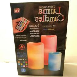 3 Piece Luma Scent Color Changing Flameless Wax Candle Set