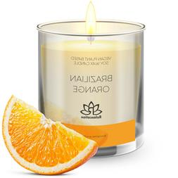 Natural Soy Wax Candle in Glass Jar Luxury ORANGE Scented 10