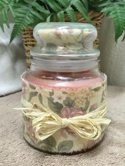 Scented Candle Rain 2 Wick 16 Oz Glass Jar Container Fabric
